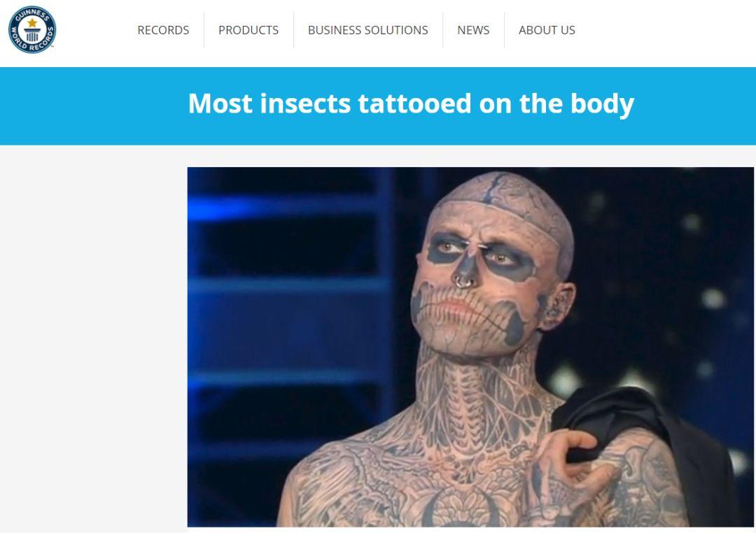 全世界纹身最多的人_他持有两项吉尼斯世界纪录:   身上昆虫纹身最多的人,共178处