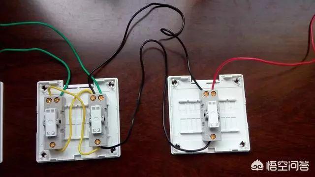 电路图:   (图三,三开关控制一个灯电路)   实物接线分四步:(示例)
