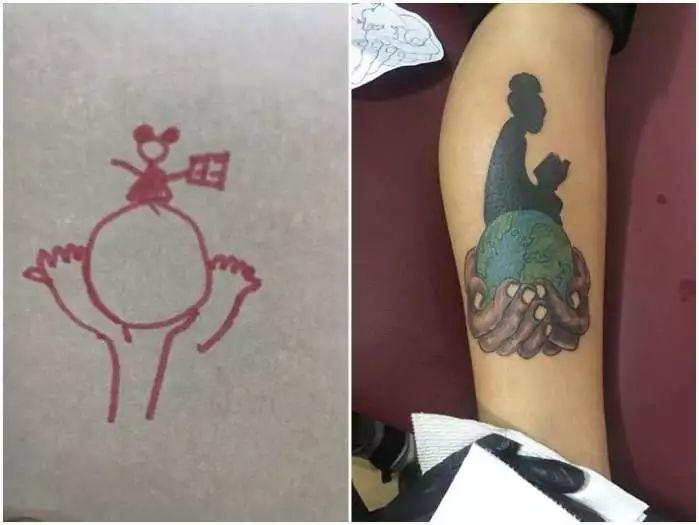 老鼠是绑包包头的女孩呀xdd刺青师不但了解sierra的想法,还把图案升华