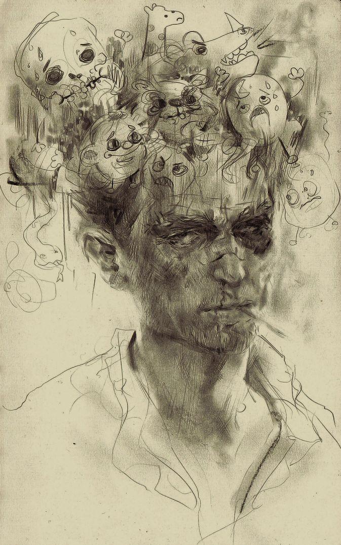 铅笔手绘漫画人脸图