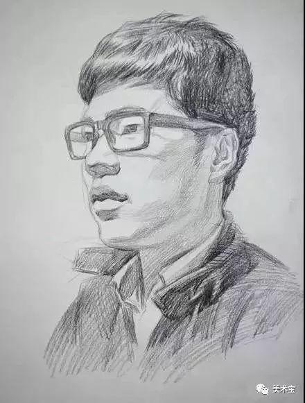 素描头像|戴眼镜的3/4男青年及侧身男中年