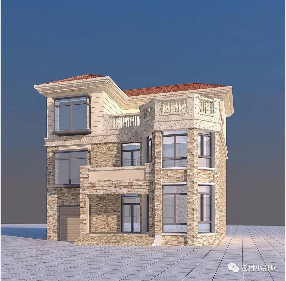 11x12三层豪华农村小别墅 造价 25-30万 带露台和车库