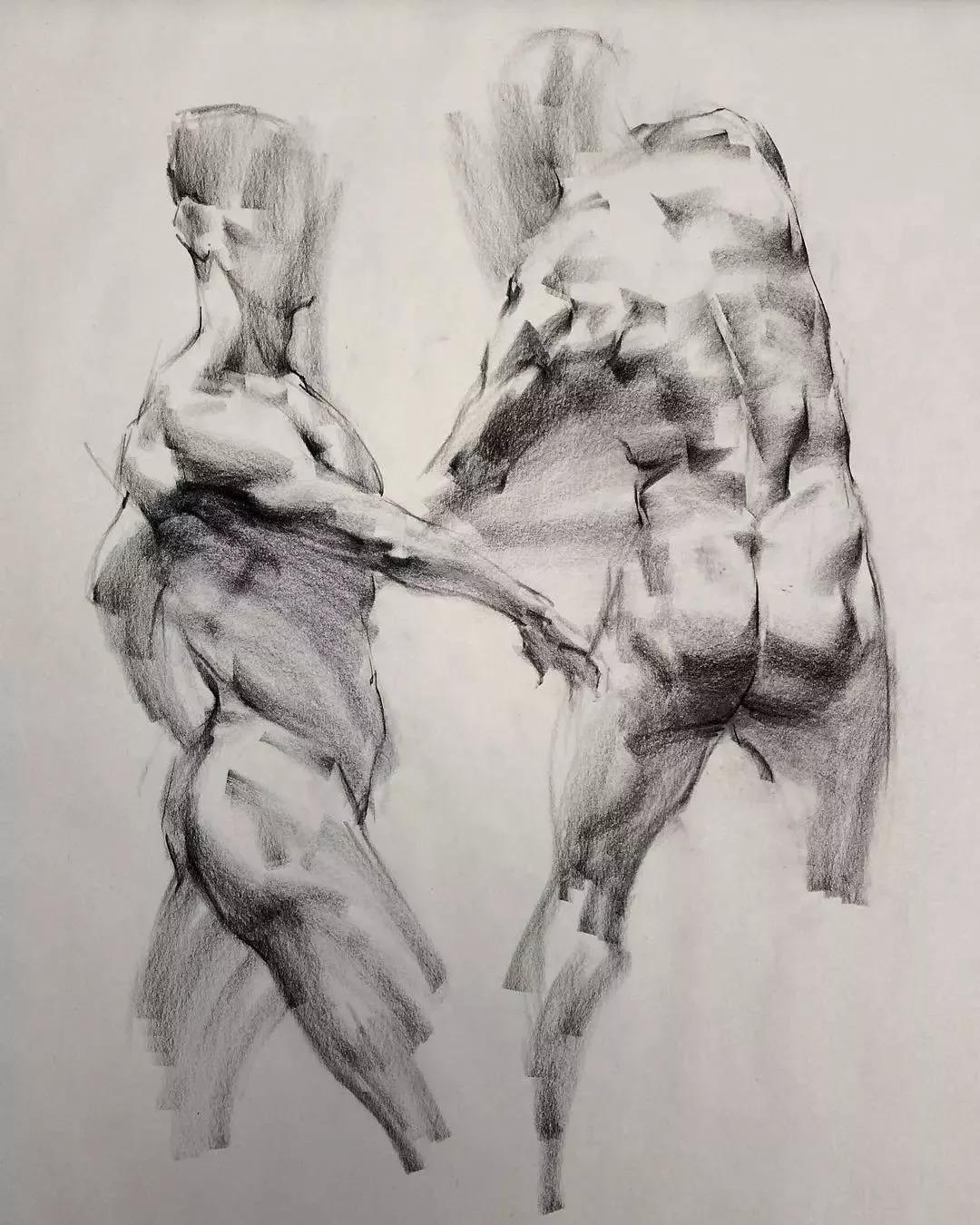 大刀阔斧的木炭条人体素描,却尽显画家的细腻