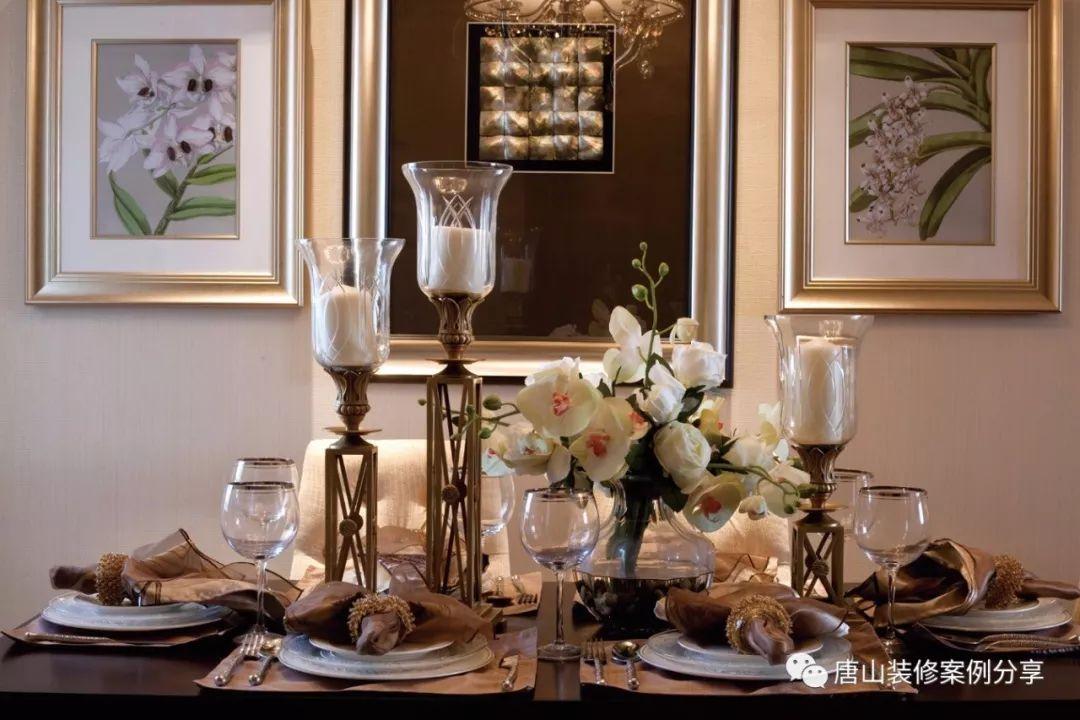 唐山恒瑞玺湖137平米三室两厅欧式风格装修案例,六边形挂饰非常好看