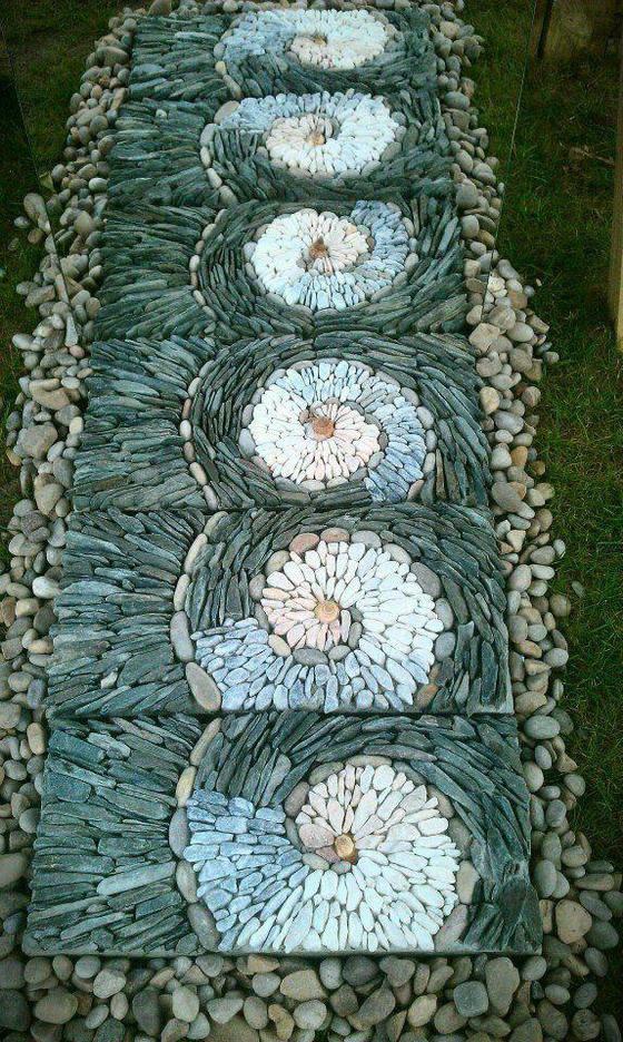全球顶尖视觉 鹅卵石,景观花园小路美美的