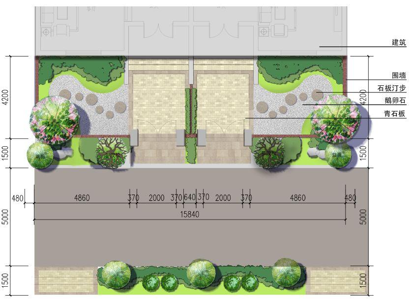 庭院中微地形的平面图
