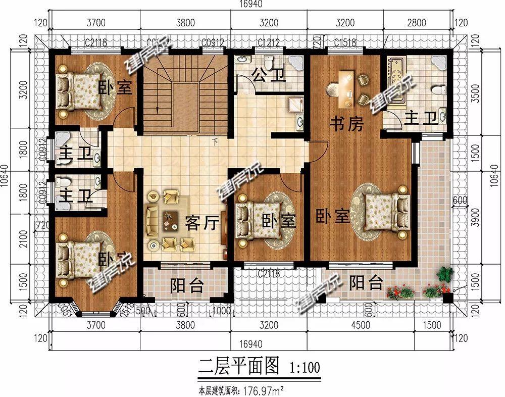 一层:入户设有神位,符合农村生活习俗;卧室在西北侧,厨房在东北侧图片