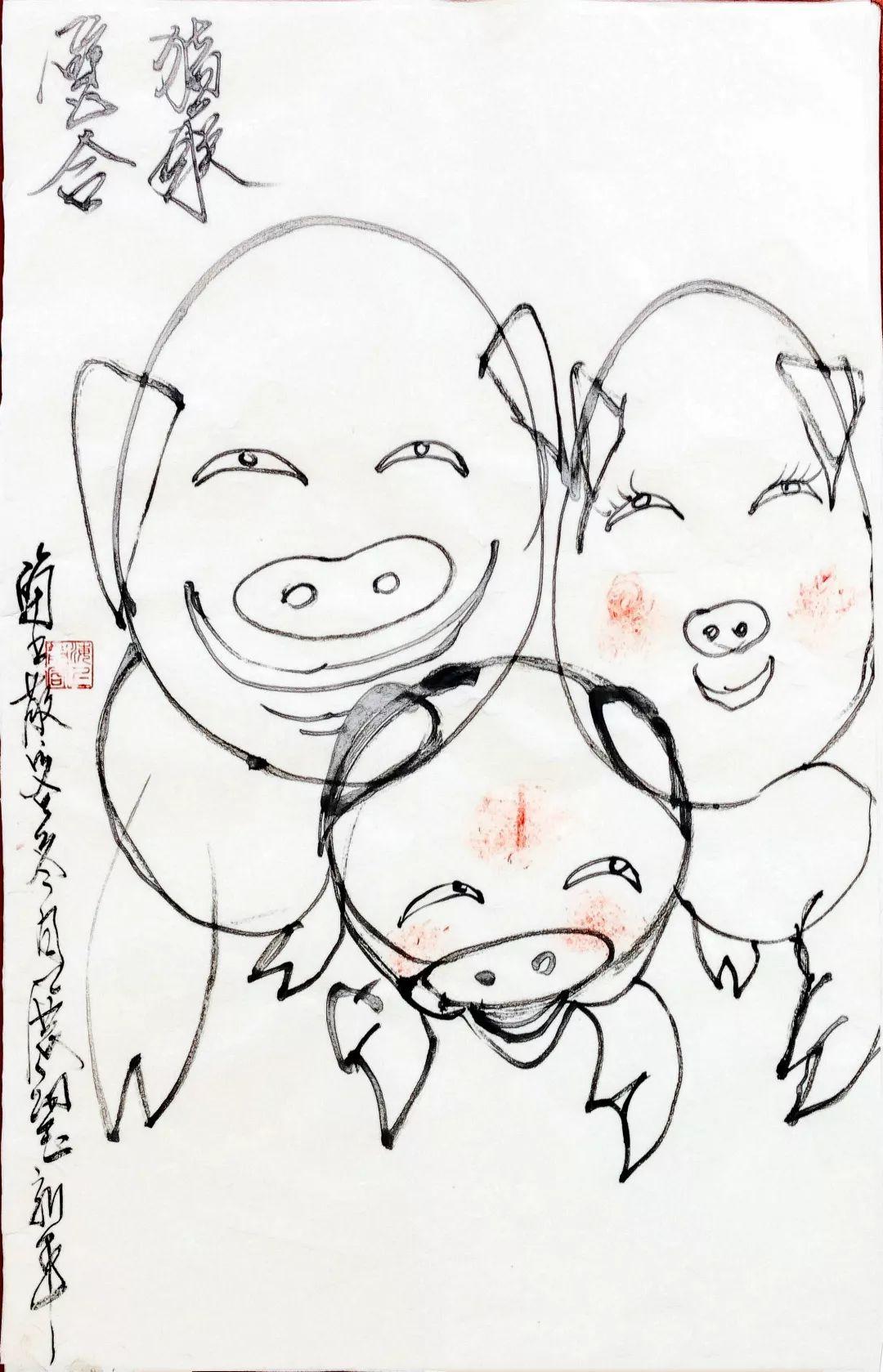 新年猪简笔画步骤