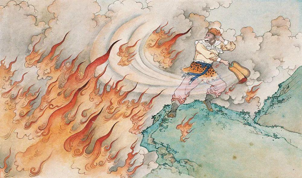 任率英的连环画《火焰山》中,孙悟空手持芭蕉扇却未能破灭大火的