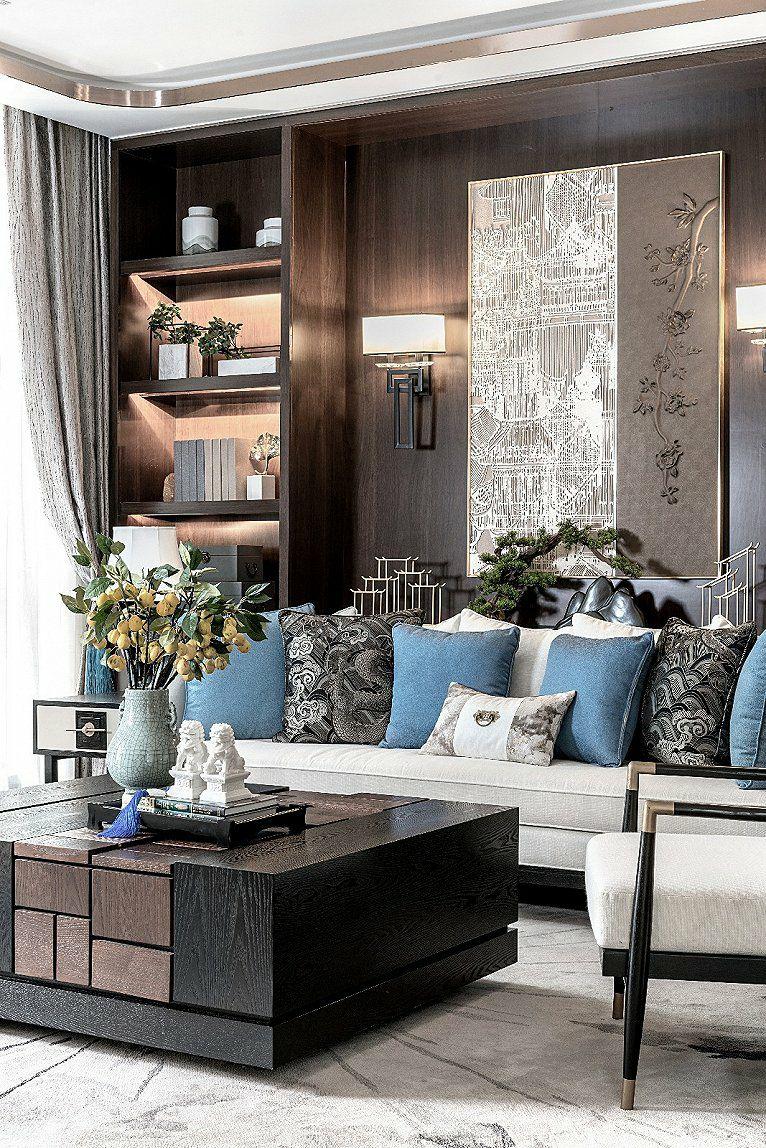 新中式沙发背景墙设计!