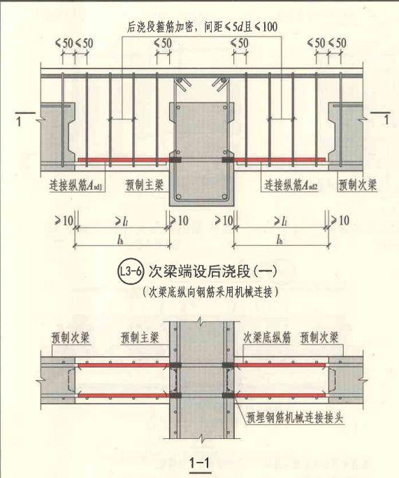现浇层主次梁节点平面图及主梁侧边切除示意图   5叠