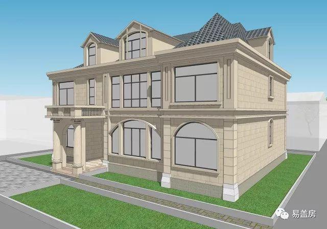 △北侧效果图   建筑后门雨棚平顶空间用作室外阳台,通过窗户与