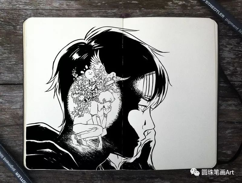 一组黑白手绘插画