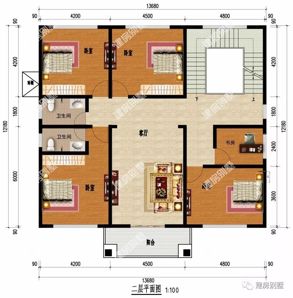 一层:入户即是可放神位的堂屋设计,老人房有独卫更方便,直角图片