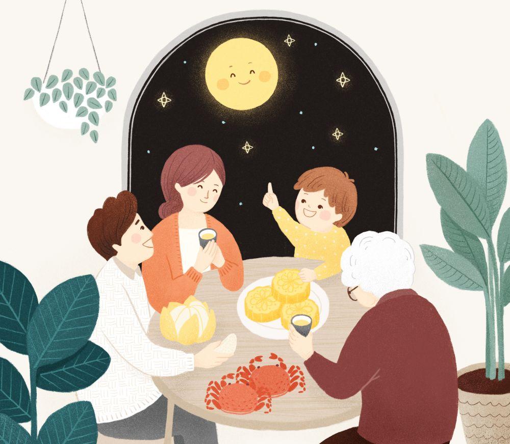 中秋节,是中华民族传统节日之一   一家人团聚 吃月饼,赏月是中秋图片