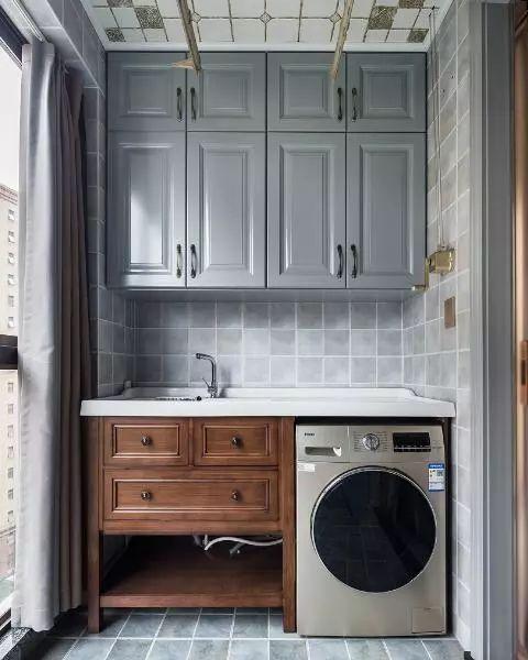 阳台洗衣柜这样设计,好用又美观,媳妇看了后坚持新房要跟着学!图片