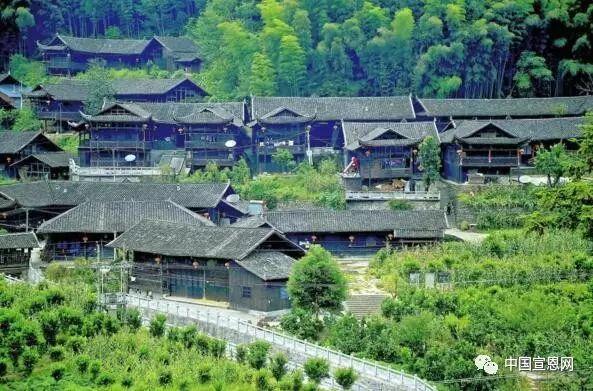 在湖北恩施州宣恩县武陵山北麓,彭家寨吊脚楼以其和谐圆润的姿态