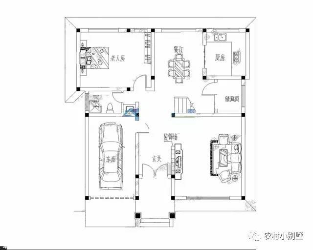 11x13米欧式农村三层带露台车库小别墅图 主体造价 24
