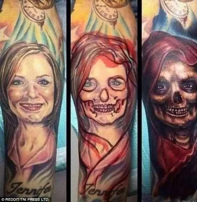 (分手之后,这个女孩将前任的纹身改成了鬼脸)图片