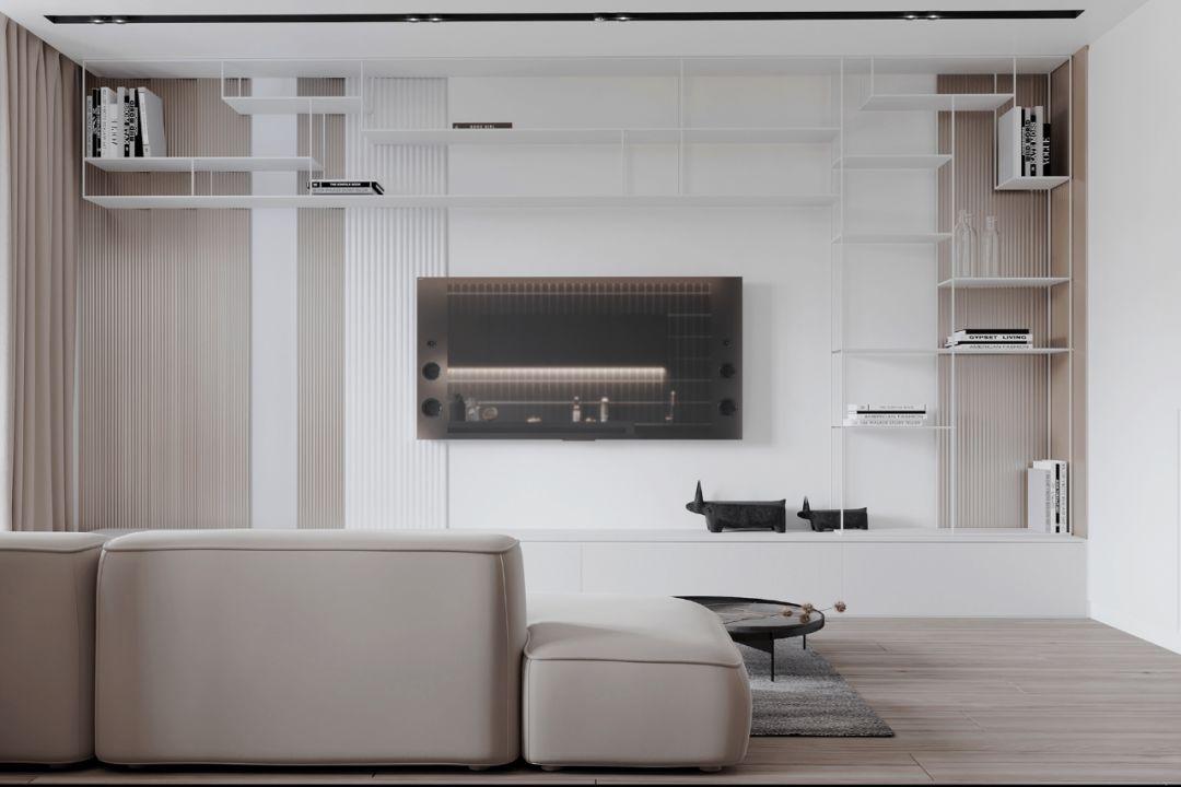 中间为白色,两边选用原木色调   白色的搁板书架是不对称设计