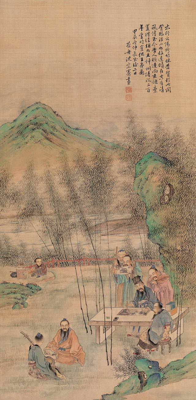 历代名家笔下的《竹林七贤图》:           图片
