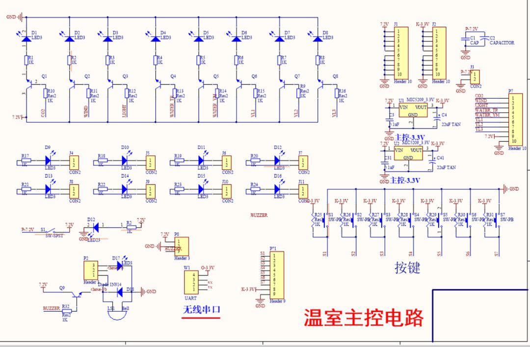蜂鸣器驱动电路,esp8266无线网模块,多种传感器:火焰传感器,温度