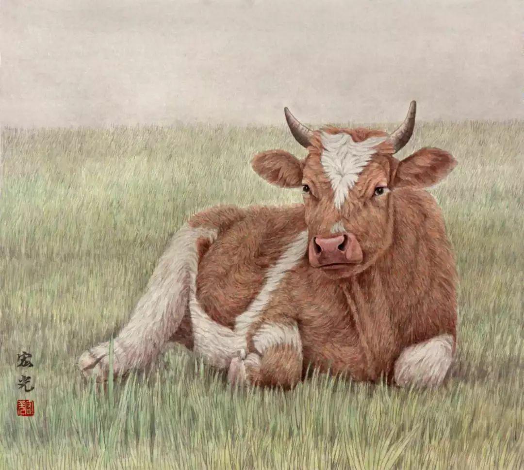 视频|教画工笔牛