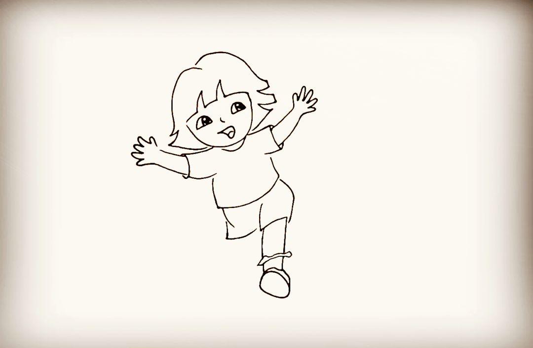 简笔画-奔跑的多拉