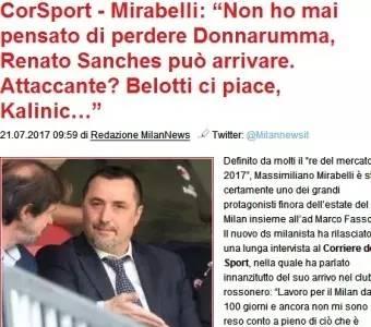 译站丨米拉贝利:我从未觉得多纳鲁马将离开米兰
