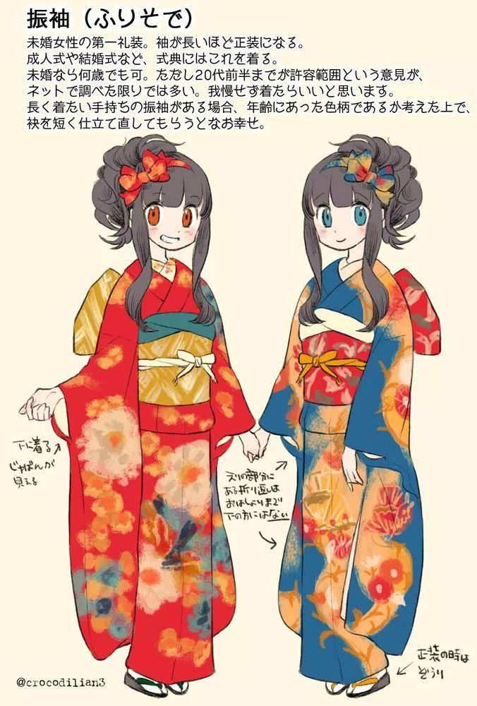 """日本画师手绘""""和服种类大全""""!网友:这么美,没有理由不"""