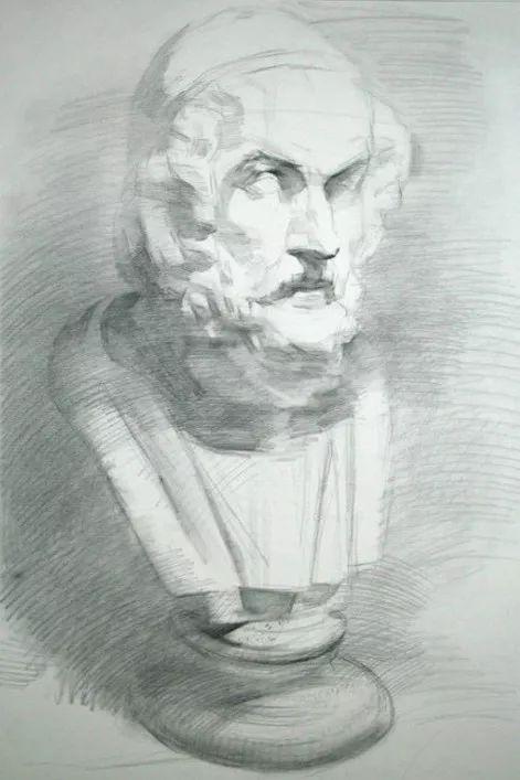 素描:石膏像怎么画出立体感?(明暗素描步骤详解)