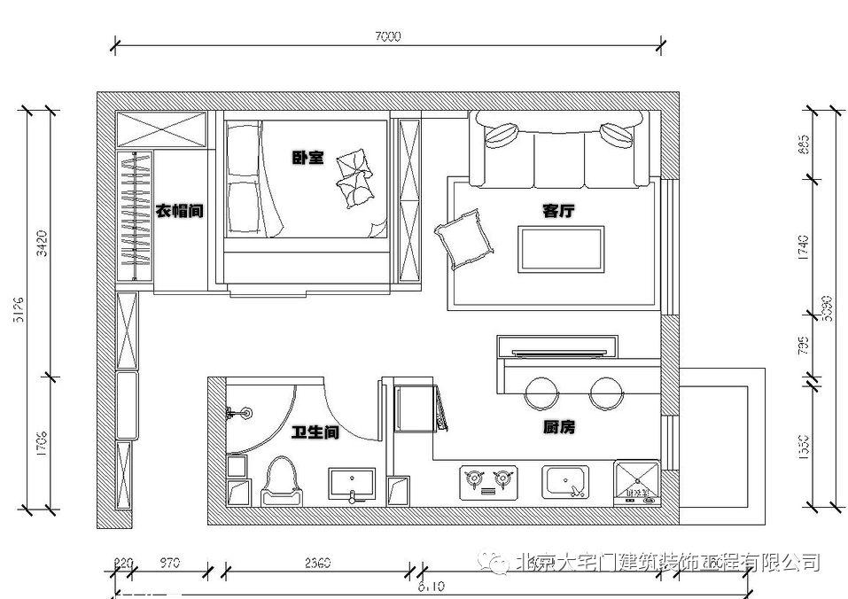 北京35平米小户型单身公寓装修,大宅门装饰推荐案例