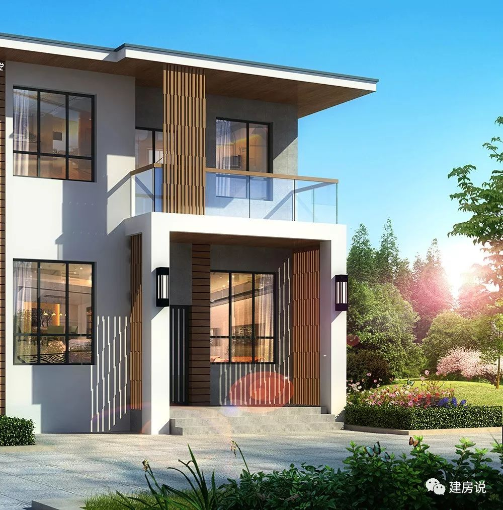 棕色主体别墅以米别墅真石漆装饰,以别墅装外墙装点白色部分,使花园合同土建施工饰条细节图片