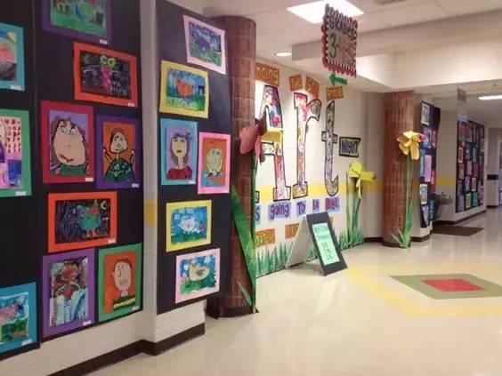 艺术走廊   以美术主题和美工作品的陈列为主,把走廊布置成一个图片