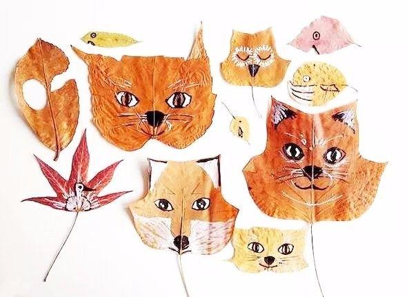 在树叶上画上动物的小眼睛,鼻子和嘴巴