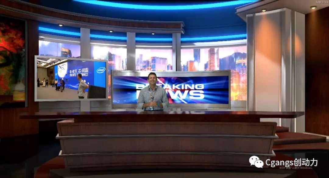 Cgangs V3D增强版新闻直播间虚拟场景应用