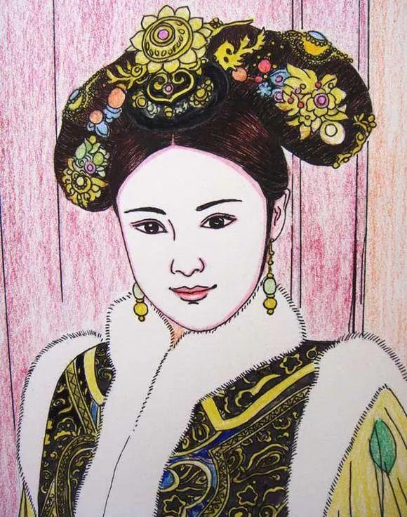 10岁女孩用彩铅画的古风手绘