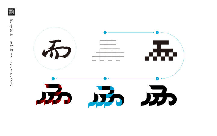 我一直尝试用平面构成的设计语言重新解构汉字,设立几个基本型,制造