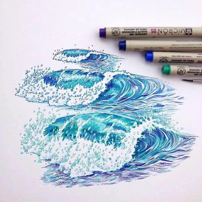 """十绘,回复""""免费""""领取绘画视频教程   / 层层海浪,针管笔 水彩作品"""