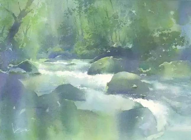 而湿画法尤其能表现柔和自然的风景   或枝叶繁茂的花草   通过