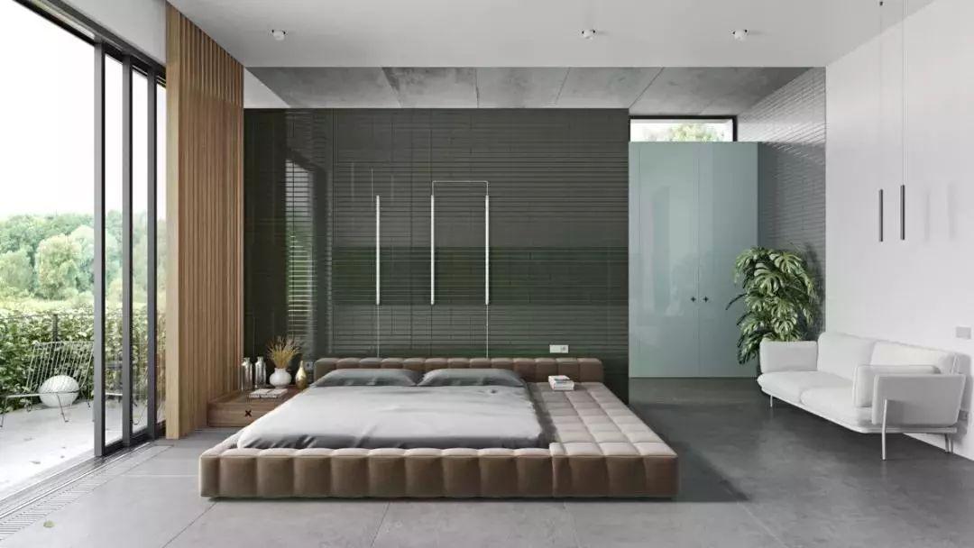 卧室墙面还可以采用大理石,浅浅的淡雅色调与丰富的肌理,完美的融合