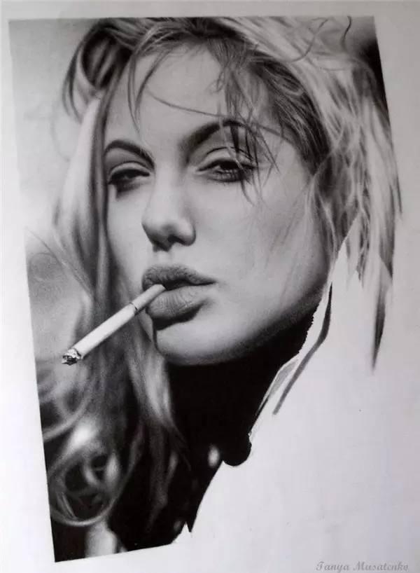 美女铅笔画 太美了