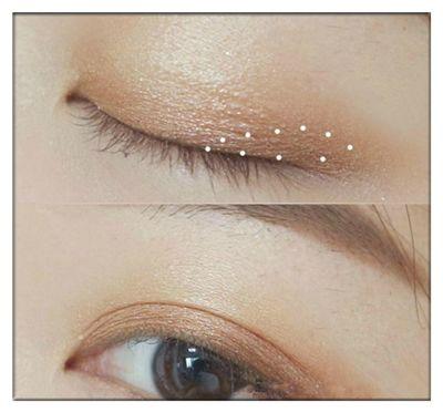 用珠光橙棕色眼影叠加在双眼皮褶皱的范围内,眼影颜色看起来有层次