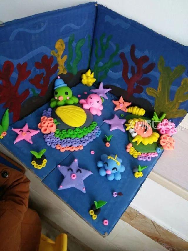 用超轻黏土制作立体的海底世界手工也十分有趣.