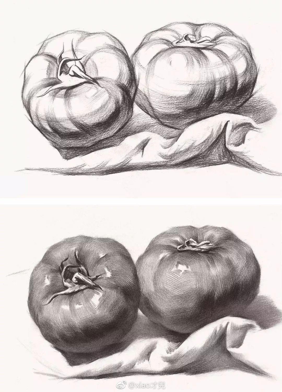 素描辣椒画法步骤图片