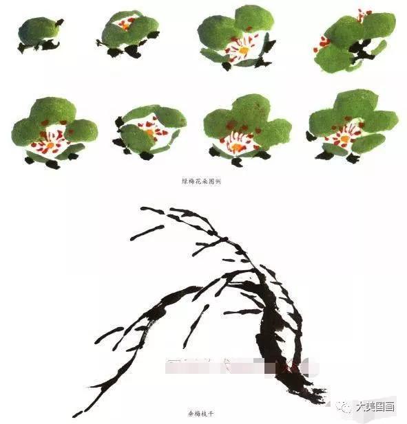 写意梅花画法示范教程,梅花的树干和根部画法,画梅花的构图形式