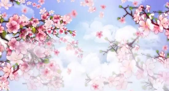 唯美桃花盛开背景素材