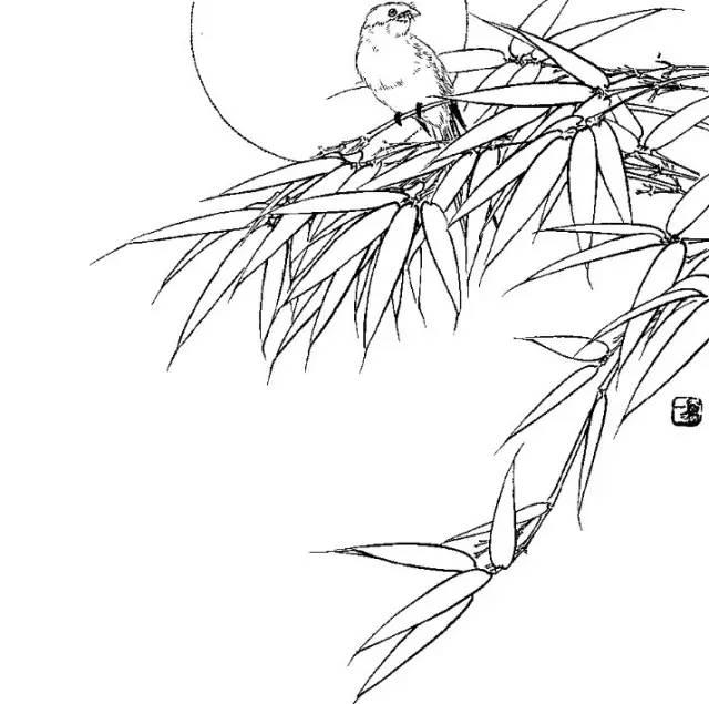 白描手绘树图片