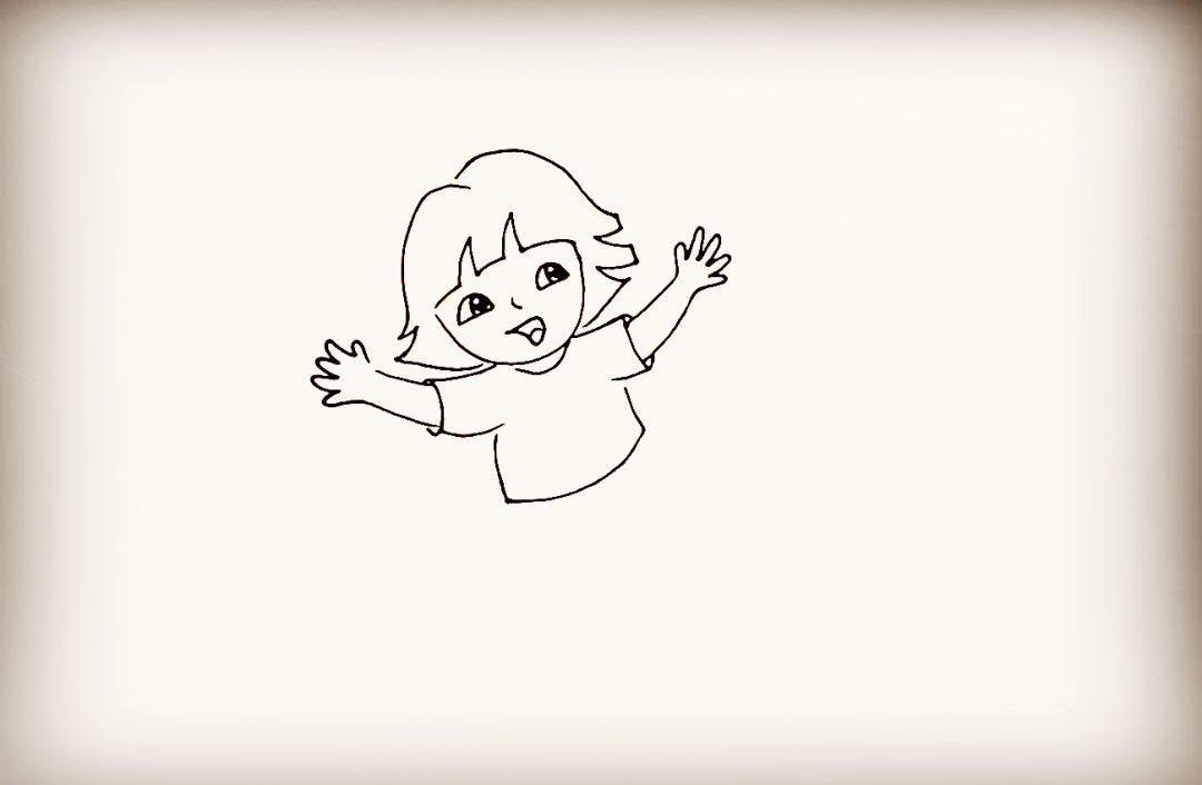 第八步   画出张开的一只手臂.注意手指的画法.