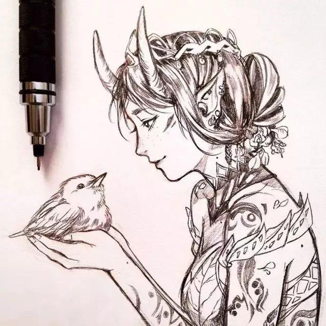 自动铅笔画出动漫美少女,我也要有一张做头像!